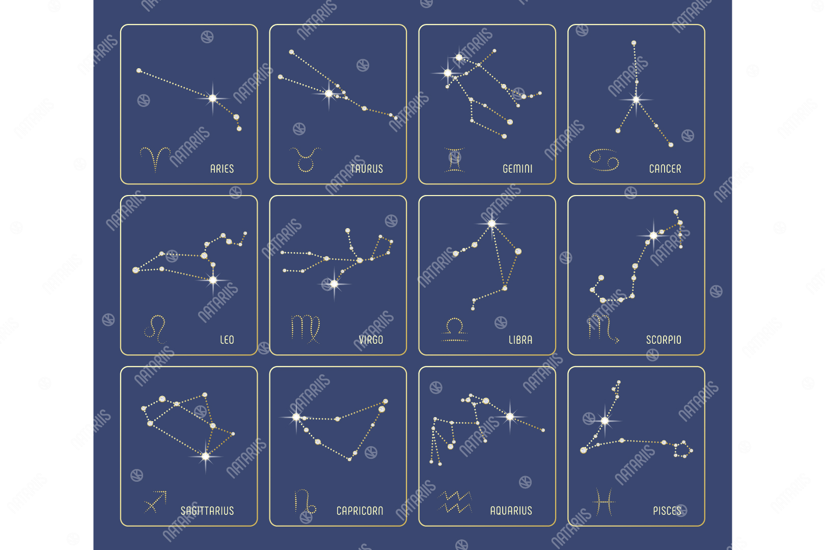 Set Of 12 Precious Zodiac Constellations Graphic By Natariis
