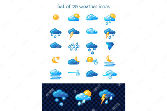 Set of 20 Weather Icons. Graphic Illustrations By Natariis Studio