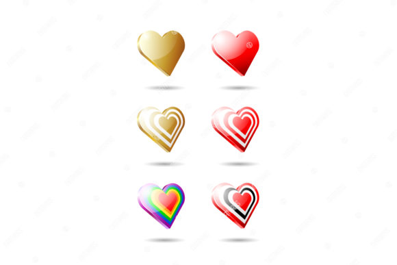 Download Free Set Of 6 Hearts 3d Hearts Graphic By Natariis Studio Creative Fabrica for Cricut Explore, Silhouette and other cutting machines.