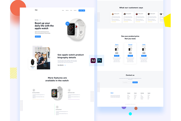 Download Free Smart Watch Landing Page Graphic By Artgalaxy Creative Fabrica SVG Cut Files