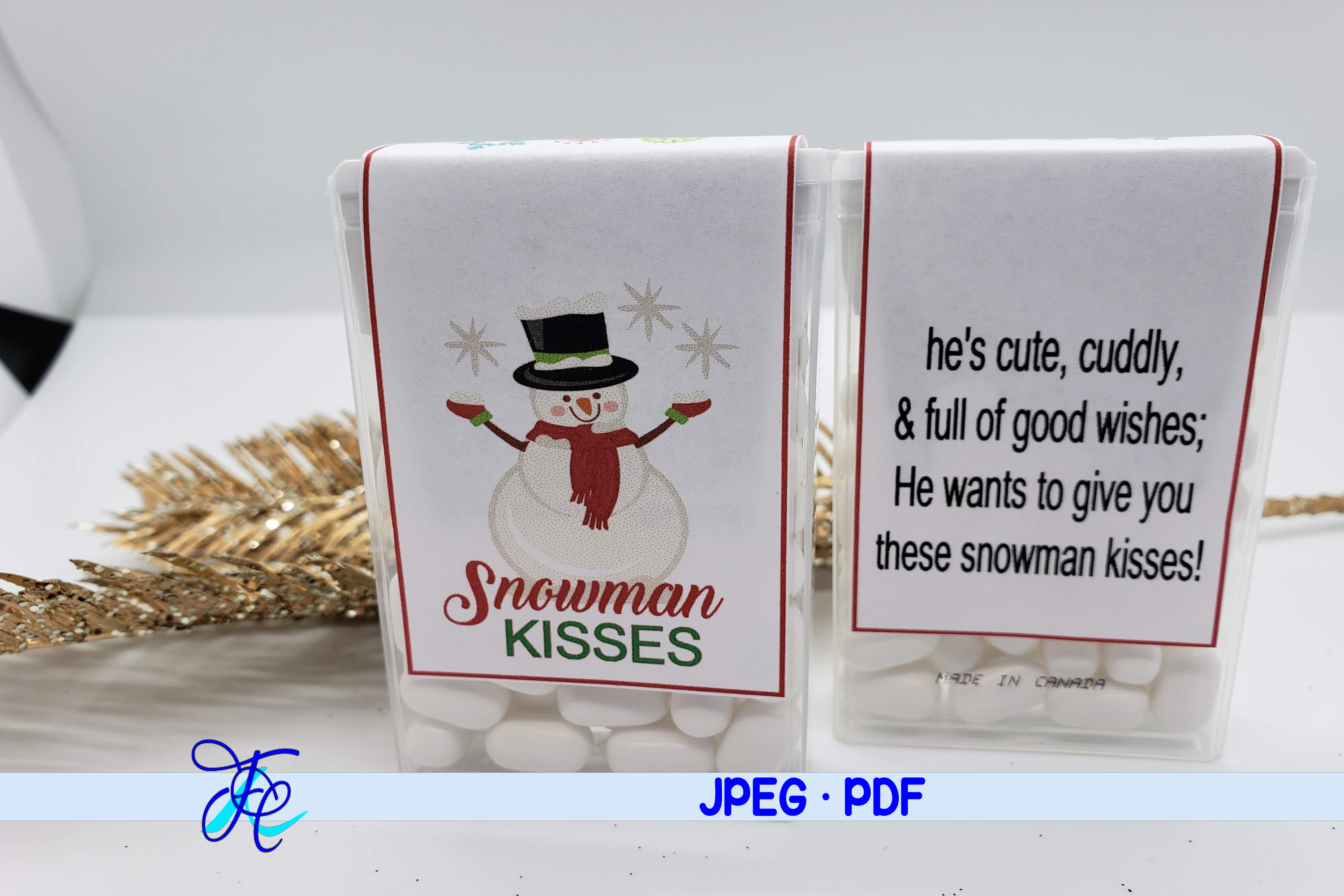 Download Free Snowman Kisses Tic Tac Label Graphic By Family Creations for Cricut Explore, Silhouette and other cutting machines.