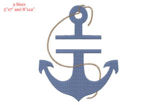 Print on Demand: Split Anchor for Name Tag Vacation Embroidery Design By Embroidery Shelter