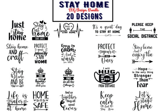 Print on Demand: Stay Home Bundle Graphic Print Templates By Design_store