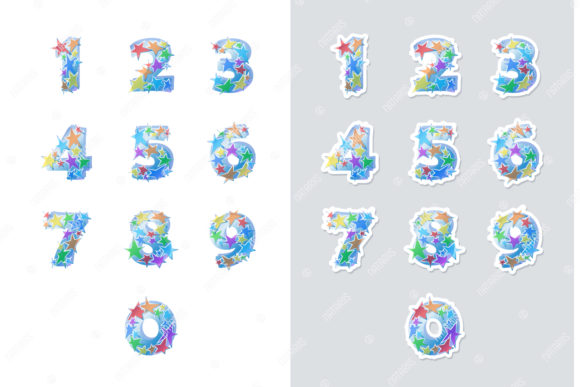 Stickers Set of 4 Numbers Fonts. Graphic Illustrations By Natariis Studio