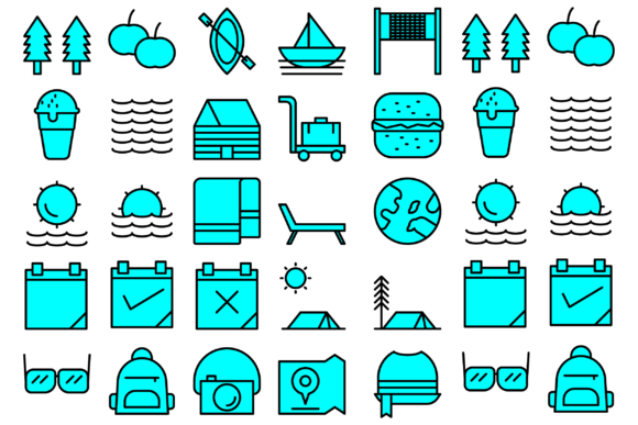 Download Free Summer Vacation Picnic And Holidays Icons Graphic By SVG Cut Files