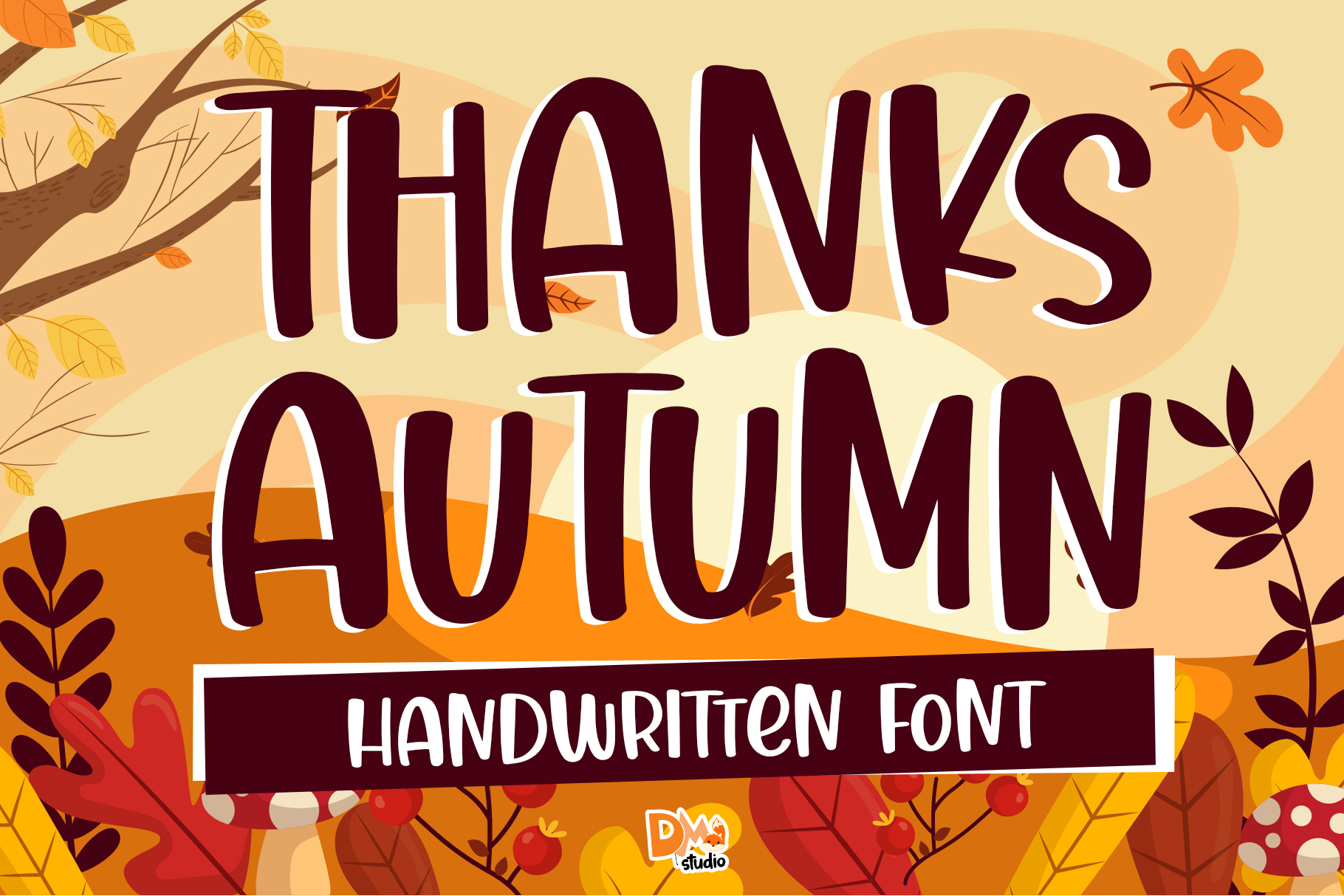 Download Free Thanks Autumn Font By Dmletter31 Creative Fabrica for Cricut Explore, Silhouette and other cutting machines.
