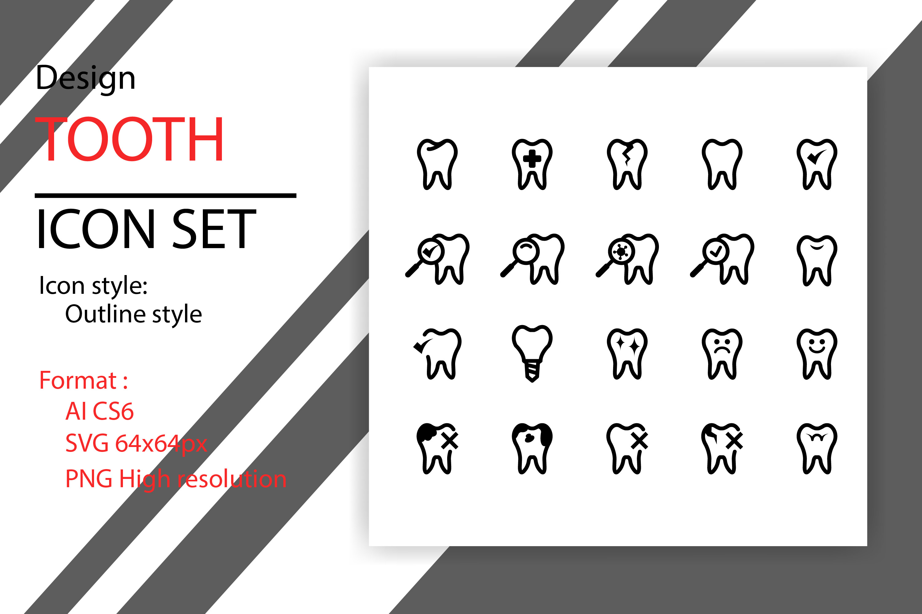 Download Free Tooth Icon Set Graphic By Sholicha Creative Fabrica for Cricut Explore, Silhouette and other cutting machines.