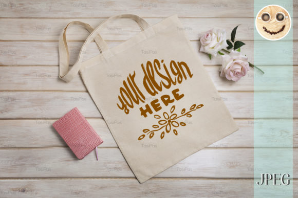 Download Free Tote Bag Mockup With Roses And Notepad Graphic By Tasipas for Cricut Explore, Silhouette and other cutting machines.