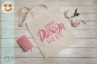 Print on Demand: Tote Bag Mockup with Roses and Notepad. Graphic Product Mockups By TasiPas 2