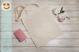 Print on Demand: Tote Bag Mockup with Roses and Notepad. Graphic Product Mockups By TasiPas 4