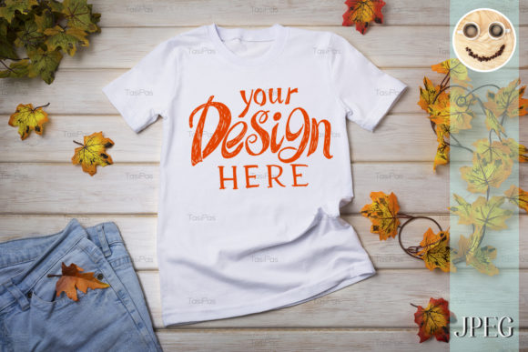 Print on Demand: Unisex T-shirt Mockup with Fall Leaves. Graphic Product Mockups By TasiPas