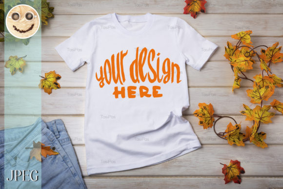 Print on Demand: Unisex T-shirt Mockup with Fall Leaves. Graphic Product Mockups By TasiPas - Image 2
