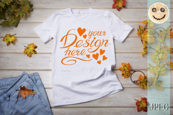 Print on Demand: Unisex T-shirt Mockup with Fall Leaves. Graphic Product Mockups By TasiPas - Image 3