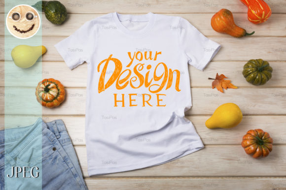 Print on Demand: Unisex T-shirt Mockup with Pumpkins. Graphic Product Mockups By TasiPas