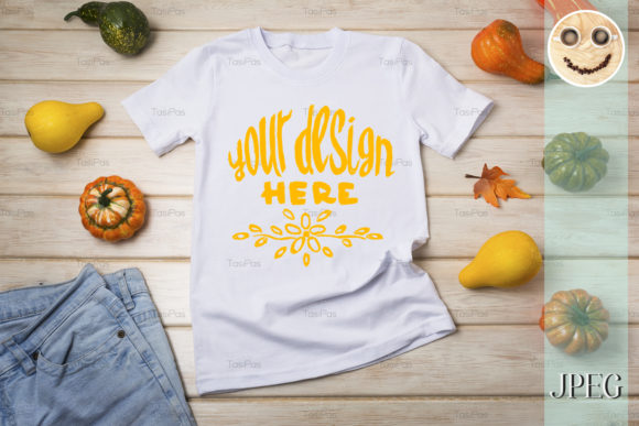 Print on Demand: Unisex T-shirt Mockup with Pumpkins. Graphic Product Mockups By TasiPas - Image 2