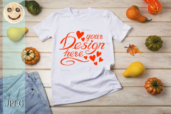 Print on Demand: Unisex T-shirt Mockup with Pumpkins. Graphic Product Mockups By TasiPas - Image 3