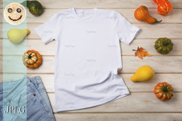 Print on Demand: Unisex T-shirt Mockup with Pumpkins. Graphic Product Mockups By TasiPas - Image 4