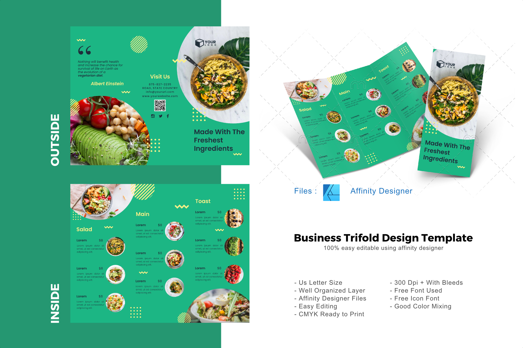 Download Free Vegan Trifold Brochure Template Graphic By Rivatxfz Creative for Cricut Explore, Silhouette and other cutting machines.