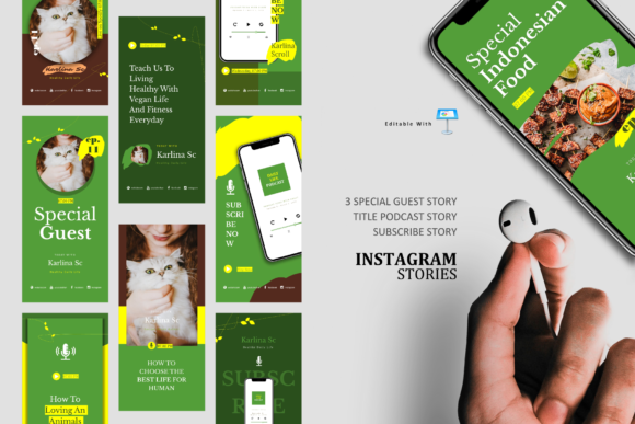 Download Free Vegan Podcast Ig Stories Post Keynote Graphic By Rivatxfz for Cricut Explore, Silhouette and other cutting machines.