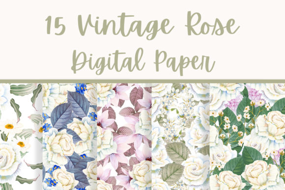 Print on Demand: Vintage Rose Seamless Patterns Graphic Patterns By Andreea Eremia Design