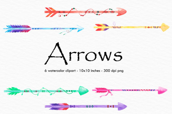 Watercolor Arrows Illustration Grafik Illustrationen von BonaDesigns