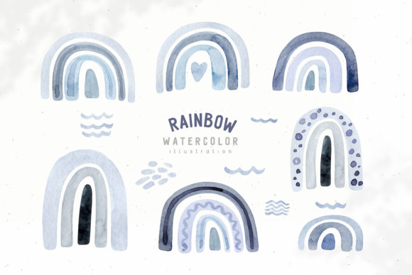 Watercolor Neutral Blue and Grey Rainbow Graphic Illustrations By kristinakvilis