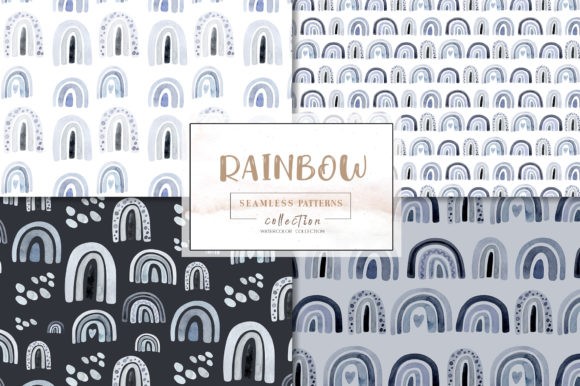 Watercolor Rainbow Pattern Collection Graphic Illustrations By kristinakvilis