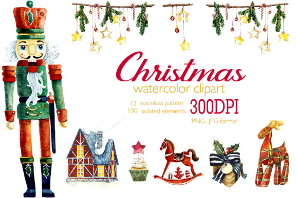 Watercolor Set Christmas Decor Graphic Illustrations By Мария Кутузова
