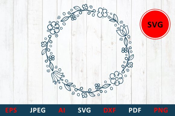 Download Free Thank You Flower Wreath Hand Lettering Graphic By Millerzoa Creative Fabrica for Cricut Explore, Silhouette and other cutting machines.