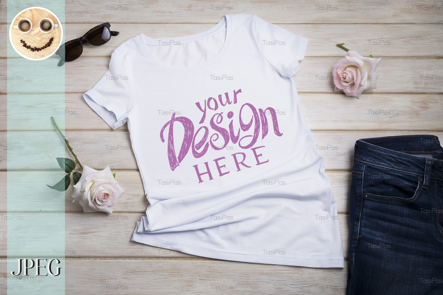 Download Free Women S T Shirt Mockup With Pink Roses Graphic By Tasipas for Cricut Explore, Silhouette and other cutting machines.
