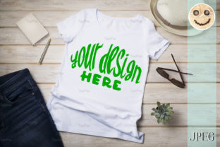 Print on Demand: Women's T-shirt Mockup with Summer Hat Graphic Product Mockups By TasiPas 1