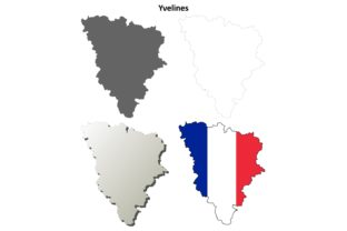Download Free Yvelines Outline Map Set Graphic By Davidzydd Creative Fabrica for Cricut Explore, Silhouette and other cutting machines.