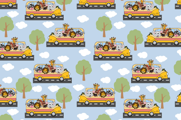 Download Free Cute Animal On The Bus Pattern Graphic By Curutdesign Creative for Cricut Explore, Silhouette and other cutting machines.