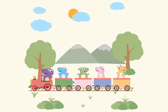 Download Free Cute Dinosaur On The Train Graphic By Curutdesign Creative Fabrica for Cricut Explore, Silhouette and other cutting machines.