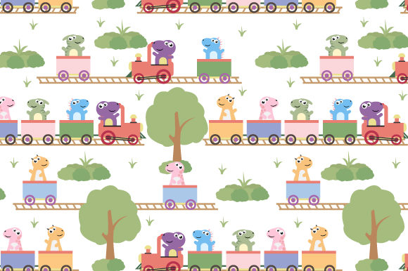Download Free Cute Dinosaur On The Train Pattern Graphic By Curutdesign SVG Cut Files