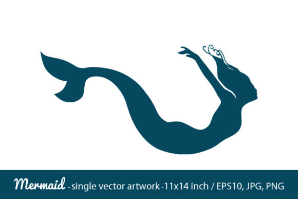 Download Free Mermaid Single Vector Artwork Graphic By Biljanacvetanovic for Cricut Explore, Silhouette and other cutting machines.