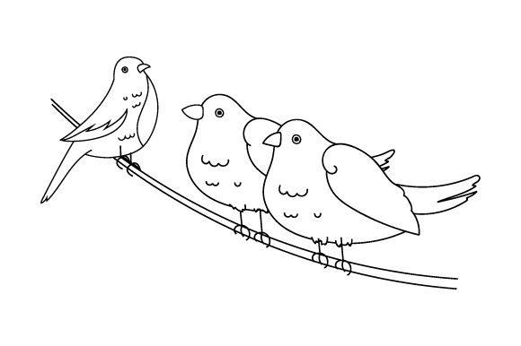 Download Free Birds Coloring Page Svg Cut File By Creative Fabrica Crafts for Cricut Explore, Silhouette and other cutting machines.