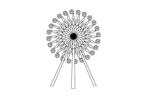 Download Free Ferris Wheel Coloring Page Svg Cut File By Creative Fabrica for Cricut Explore, Silhouette and other cutting machines.
