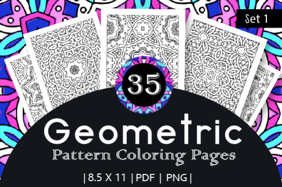 Print on Demand: 35 Geometric Pattern Coloring Pages Graphic Coloring Pages & Books Adults By JM_Graphics