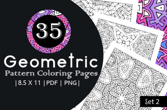 35 Geometric Pattern Coloring Set 2 Graphic