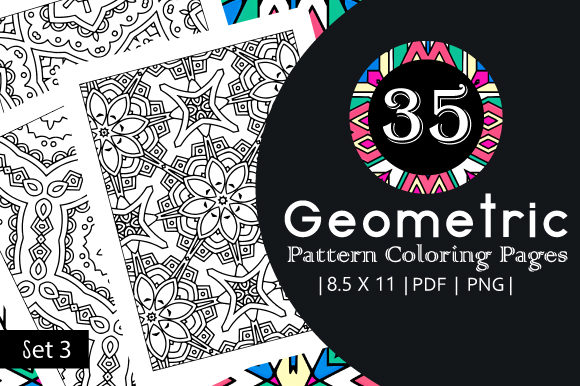 Print on Demand: 35 Geometric Pattern Coloring Set 3 Graphic Coloring Pages & Books Adults By JM_Graphics