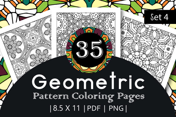 Print on Demand: 35 Geometric Pattern Coloring Set 4 Graphic Coloring Pages & Books Adults By JM_Graphics
