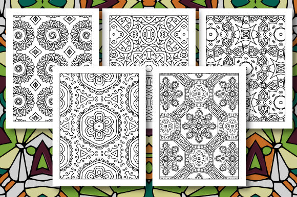 Print on Demand: 35 Geometric Pattern Coloring Set 4 Graphic Coloring Pages & Books Adults By JM_Graphics - Image 7