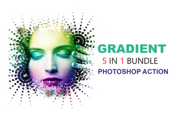 5 in 1 Gradient Photoshop Actions Bundle Graphic Actions & Presets By iTraitArt