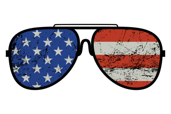 Print on Demand: American Flag Sunglasses 4th of July Graphic Logos By SunandMoon - Image 1