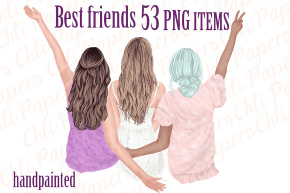 Best Friends Besties Clipart  Graphic Illustrations By ChiliPapers