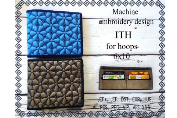 Billfold Machine Embroidery Design. in the Hoop.  Wallet for Banknotes Sewing & Crafts Embroidery Design By ImilovaCreations