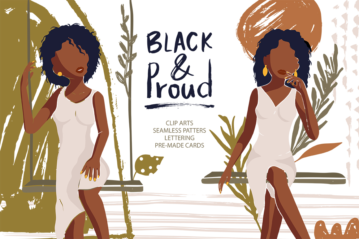 Download Free Black And Proud Abstract Woman Set Graphic By Red Ink for Cricut Explore, Silhouette and other cutting machines.