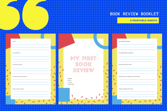 Download Free Book Review Printable Booklet Graphic By Yumbeehomeschool for Cricut Explore, Silhouette and other cutting machines.