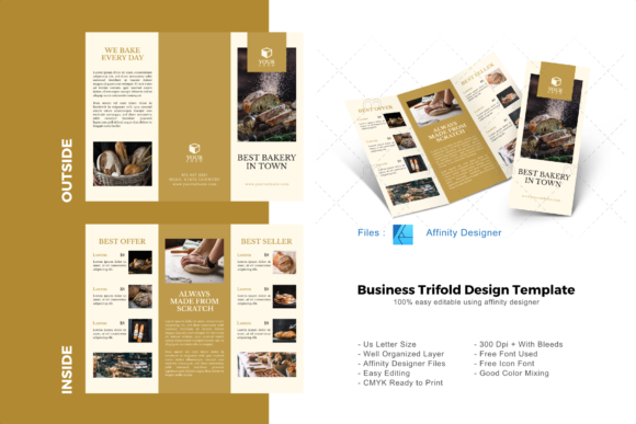Download Free Cake Trifold Brochure Template Graphic By Rivatxfz Creative for Cricut Explore, Silhouette and other cutting machines.